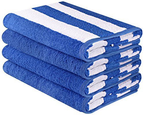Blue Striped Towel - Utopia Towels Premium Quality Cabana Beach Towels - Pack of 4 Cabana Stripe Pool Towels (30 x 60 Inches) - Multi Purpose Towels with High Absorbency