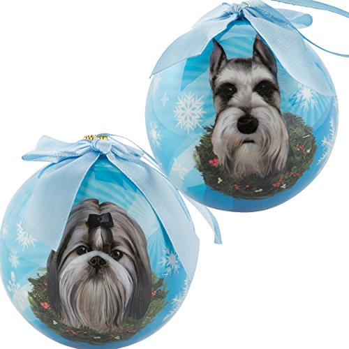 (eBigValue Schnauzer and Shih Tzu Pets Christmas Ball Shatter Proof Bow Xmas Tree Seasonal Ornaments)
