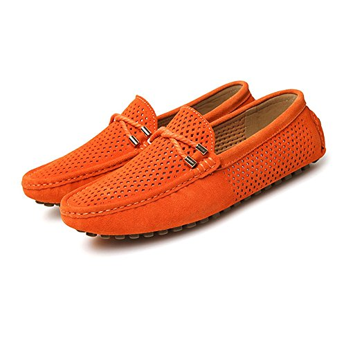 pelle Militare EU vera Vamp in Flat Mocassini Marina Dimensione Velluto da guida Mocassini Mocassini da 43 Orange uomo Color Perforazione on Slip Shoes traspirante Isbxn Business Fashion PB4qvxP