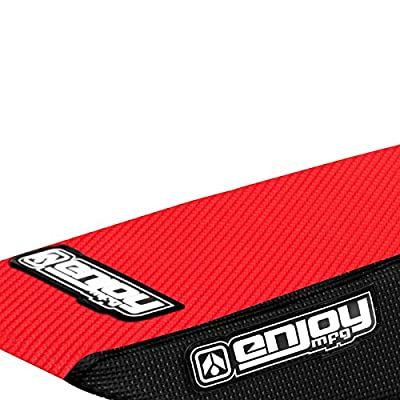 Enjoy MFG 2000 - 2015 Suzuki DRZ 400 Black Sides / Red Top Full Gripper Seat Cover: Automotive