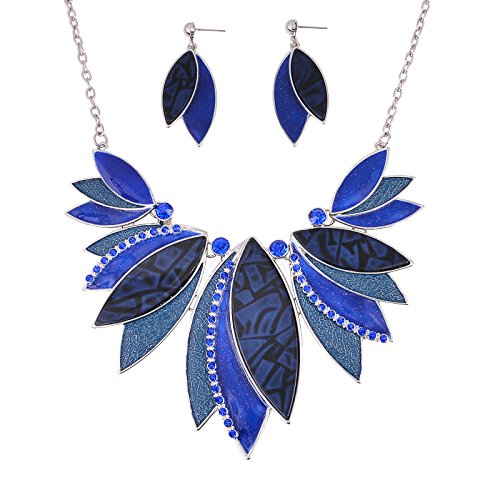 Fenni Multicolored Enamel Crystal Leaf Flower Necklace and Earrings Sets Chain Pendant for Women Bridal (Blue)