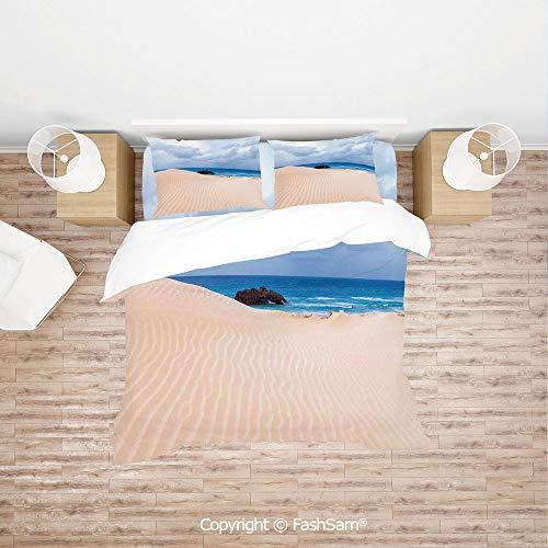 FashSam Duvet Cover 4 Pcs Comforter Cover Set Boat Crash by Exotic Tropical Beach in African Shore Dream Atlantic Ocean Photo for Boys Grils ()