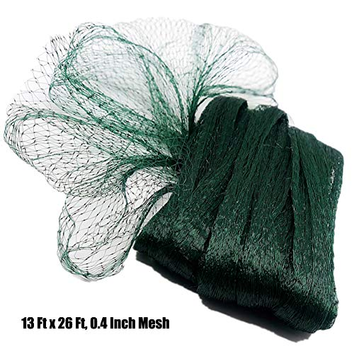 Poyee Bird Netting for Garden-13 Ft x 26 Ft, 0.4 Inch Mesh, Nylon Garden Netting Protect Fruit and Vegetables from Birds and Animals,Green (Plastic Bird Netting)