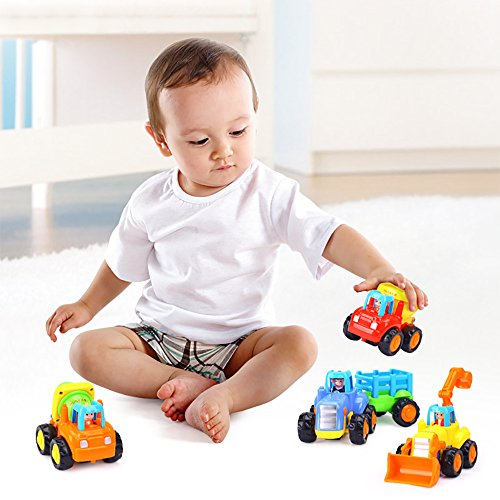 Friction Powered Cars Push and Go Car Construction Vehicles Toys Set of 4 Tractor,Bulldozer,Cement Mixer Truck,Dumper Push Back Cartoon Play for 2 3 Years Old Boys Toddlers Kids Gift