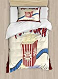 Ambesonne Movie Theater Twin Size Duvet Cover Set, Fresh and Delicious Pop Corn Film Tickets and Strip Advertising in 60s Theme, Decorative 2 Piece Bedding Set with 1 Pillow Sham, Multicolor
