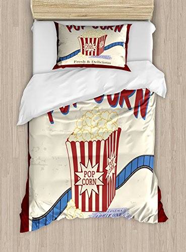 Ambesonne Movie Theater Twin Size Duvet Cover Set, Fresh and Delicious Pop Corn Film Tickets and Strip Advertising in 60s Theme, Decorative 2 Piece Bedding Set with 1 Pillow Sham, Multicolor by Ambesonne