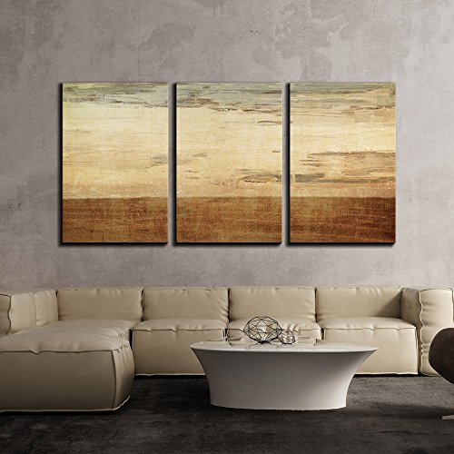 - wall26 3 Piece Canvas Wall Art - Gold Color Abstract Artwork - Modern Home Decor Stretched and Framed Ready to Hang - 24