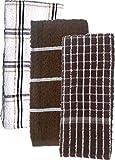 Cotton Terry Windowpane Dish Cloths Heavy Duty Absorbent Bundle of 3 Towels - 1 Plaid, 1 Striped, 1 Windowpane