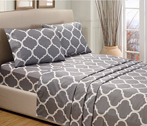 4-Piece QUEEN size, GREY STAR Printed Bed Sheet Set-Super So