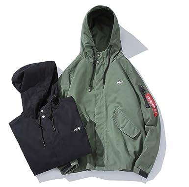 57d5318e145a5a Amazon | wanghong ウインドブレーカー ジャケット メンズ ゆったり フード付き 無地 緑 黒 M-5XL 個性 大きいサイズあり  ブルゾン アウター カジュアル | コート・ ...