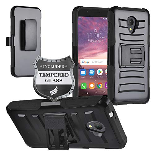 Eaglecell - Alcatel Avalon V, IdealXTRA 5059R, 1X Evolve (2018), TCL LX A502DL 5.34 - Hybrid Armor Case w/Stand/Belt Clip Holster + Tempered Glass Screen Protector - CV1 Black