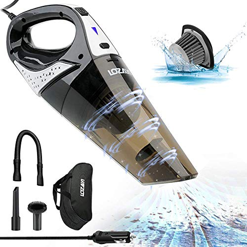 Car Vacuum Cleaner, LOZAYI High Power DC 12V 5000PA Stronger Suction Car Vacuum Wet/Dry Portable Handheld Auto Vacuum Cleaner with 16.4FT(5M) Power Cord, Carry Bag, HEPA Filter for Quick Car Cleaning