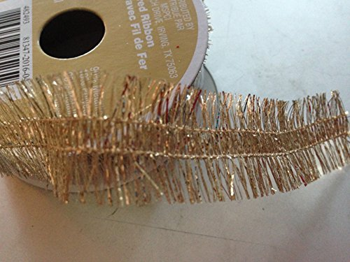 7/8 inch x 12 feet Metalic Gold frey edge Wired ribbon (Wire Double 12' Wired)