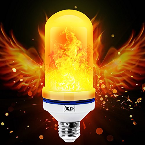Yeahbeer LED Flame Effect Light Bulb, E26 Flickering Flame Light Bulbs, 105pcs 2835 LED Light Bulb Atmosphere Lighting Art Deco Vintage Simulation Flames Bar / Holiday Decorations (Led Like)