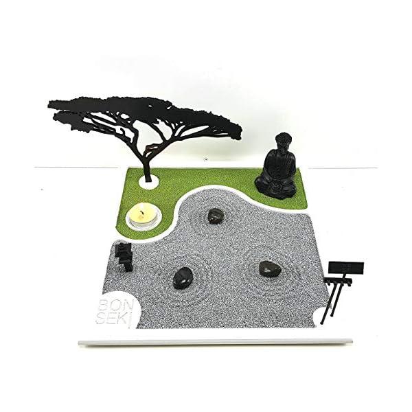 Bonseki® Giardino Zen da tavolo 30 x 30 in legno, proietta l'ombra del bonsai sulla parete, personalizzabile. 4 spesavip