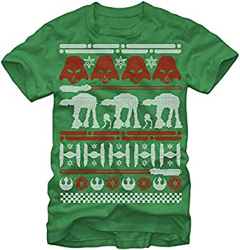 Wonky Star Wars Ugly Christmas Sweater Men's ComfortSoft Short Funny T-Shirt Green