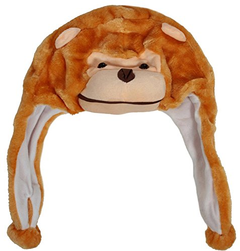 Cartoon Animal Hat Plush Beanie Fleece Fluffy Hooded Cap Earmuff, Monkey