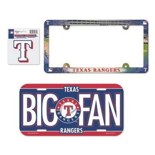 (WinCraft Texas Rangers License Plate and Frame 3 Piece Gift)