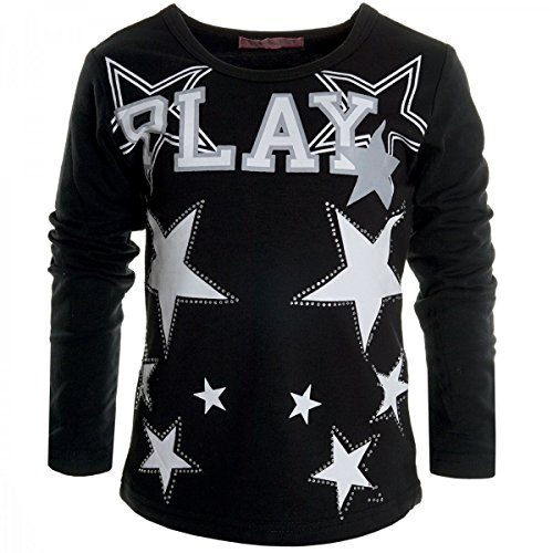 Mädchen Bluse Shirt Pullover Langarmshirt Longsleeve Sweatshirt T-Shirt 20538, Farbe:Schwarz;Größe:152