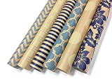 "Arts & Crafts : Kraft Blue and Cream Wrapping Paper Set - 6 Rolls - Multiple Patterns - 30"" x 120"" per Roll"