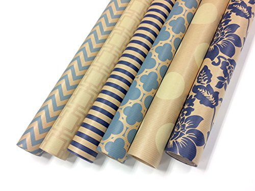 Kraft Blue and Cream Wrapping Paper Set - 6 Rolls - Multiple Patterns - 30