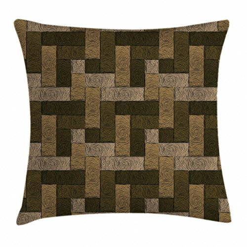 Ambesonne Chocolate Throw Pillow Cushion Cover, Parquet Pattern in Wooden Style Geometric Design in Nature Inspired Art, Decorative Square Accent Pillow Case, 18