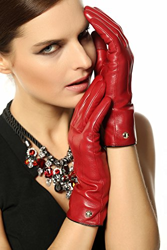 - Elma Women's Touch Screen Italian Nappa Leather Winter Texting Gloves (8, Burgundy)