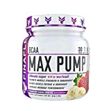 BCAA Max Pump, 30 Servings, Branched Chain Amino Acids Plus Pump, Increase Strength, Endurance, and Blood Flow to Muscles, Extend Workouts, Pre Intra Post Workout (Strawberry Banana Smoothie)