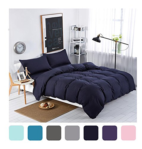 MIFE TEXTILE 4-Piece Navy Blue Duvet Cover Set Solid Color Bedding Microfiber Bedding Sets