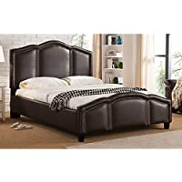 Milton Greens Stars Marley Faux Leather Nailhead Trim Platform Bed with Adjustable Headboard, Full