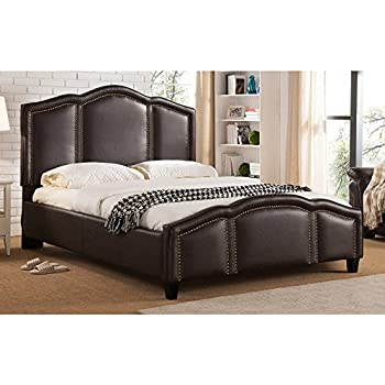 Milton Greens Stars Marley Faux Leather Nailhead Trim Platform Bed With Adjustable  Headboard, Queen