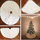 Faux Fur Christmas Tree Skirt 30.7 inches Snowy White Tree Skirt for Christmas Decorations