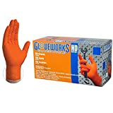 AMMEX HD Nitrile Disposale Gloves - 8 Mil, Industrial, Extra Thick, Diamond Texture, Powder Free, Ambidextrous, Orange, Large, Box of 100