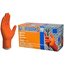 Ammex GLOVEWORKS HD Industrial Orange Nitrile Gloves - 8 mil, Latex Free, Powder Free, Diamond Texture, Disposable, Heavy Duty, Large, GWON46100-BX, Box of 100
