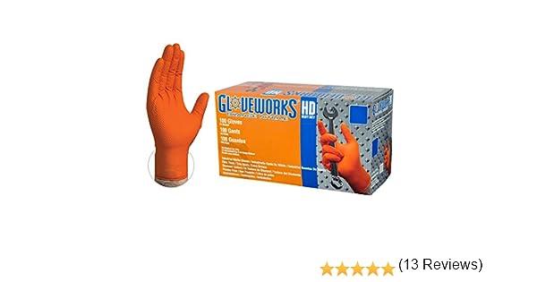 GUANTES Desechables nitrilo Naranja espesados duraderos petr/óleo Resistentes al /ácido Experimento Seguros Trabajo Industrial qu/ímicos Color : Orange, Size : M