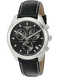 Tissot Mens Pr 100 Swiss Quartz Stainless Steel and Leather Dress Watch, Color:Black (Model: T1014171605100)