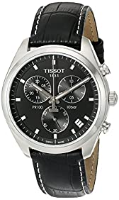 Tissot Men's 'Pr 100' Swiss Quartz Stainless Steel and Leather Dress Watch, Color:Black (Model: T1014171605100)