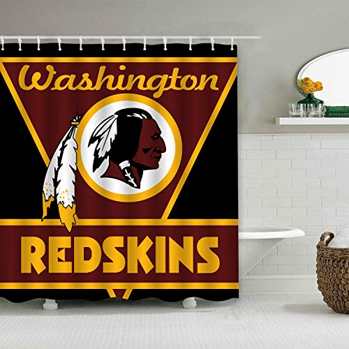 Sorcerer Custom Colourful Washington Redskins American Tootball Team Shower Curtain Polyester Waterproof Proof for Bathroom Decoration Set with Hooks 66x72 -