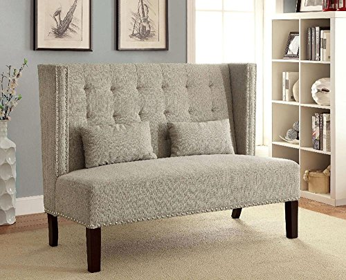Fenwick Modern 55.5 inch Long Banquette Loveseat Bench in Beige Fabric (Banquette Dining)