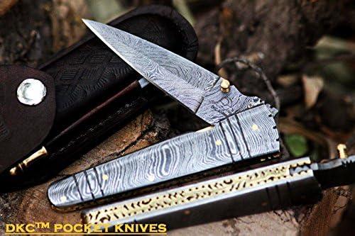 DKC Knives 2 8 18 DKC-142 Battle Stinger Damascus Folding Pocket Knife 4.5 Folded 8 Open 3 Blade 9oz
