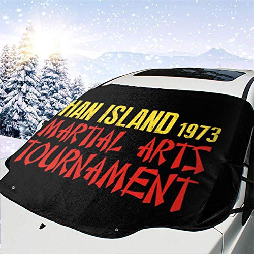 ENXIANGXIJ Enter The Dragon Ham Island Martial Arts Tournament Car Windshield Snow Cover, Ice Removal Sun Shade, Fit for Universal Cars (58'' X47'')