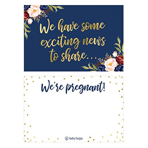 25 Navy Pregnancy Announcement Card Set were Expecting Baby Surprise Having Birth Reveal Only Best Friends Get Promoted to Auntie Aunt Uncle Grandpa Grandma Grandparent Sister Brother Family Dad Mom