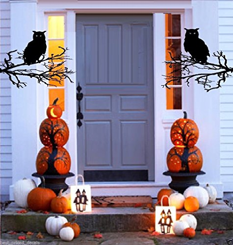BestPricedDecals Happy Halloween # 2 (Choose, Wording, or with Owls and Branches) Halloween Decal, Wall or Window (Owls and -