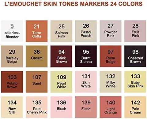 Lémouchet 24 colores de doble punta, tonos de piel, marcadores ...