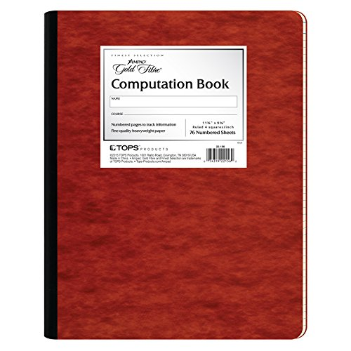 Ampad Gold Fibre Computation Book, Red Cover, Ivory Paper, Letter Size, 4 Square Inch Rule, 76 Sheets, 1 Each - Ampad Computation Notebook