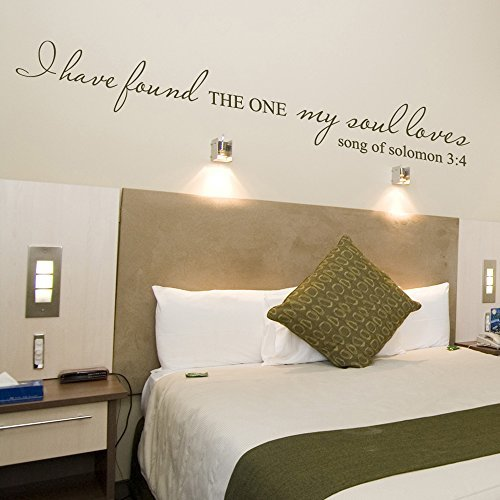 I Have Found The One My Soul Loves (Song Of Solomon 3:4) - Wall Quote Christ Bible Decal Art Sticker Home Decor (Black, Medium)