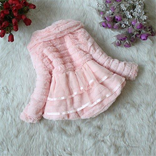 Kids Baby Girls Fleece Coat Winter Warm Jacket Outerwear (3 Years, Pink)