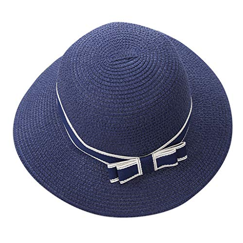 TIANMI Women Casual Wide Sun Hat Ladies Outdoor Brimmed Straw Beach Hat Travel Hat Parent-Child Outing Navy