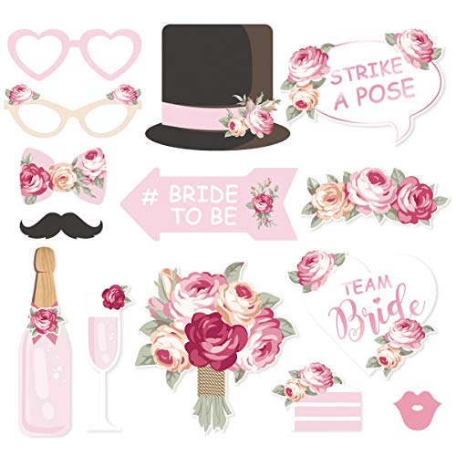 NICROLANDEE Bridal Shower Photo Booth Props - 14 Pack Wedding Blush Pink Photo Props with Mix of Hats Lips Mustaches Wine Glass for Girls Night Out Hen Party Birthday Party Supplies ()
