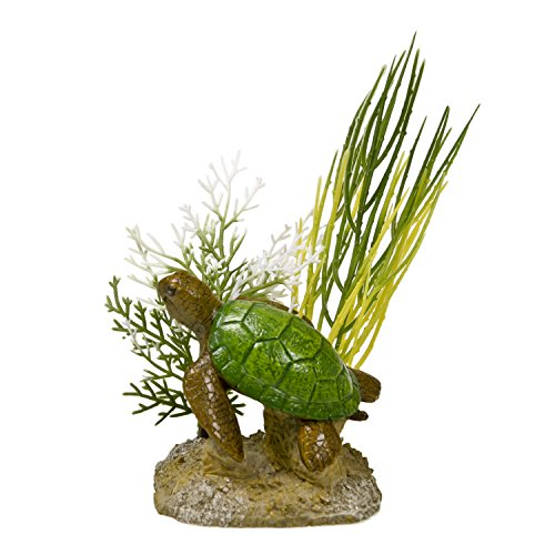 Blue Ribbon EE-1118 Aquatic Scene with Turtle Exotic Environments Aquarium Ornament ()